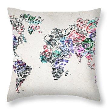 Stamp Art World Map Throw Pillow