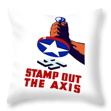 Stamp Out The Axis Throw Pillow by War Is Hell Store
