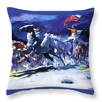 Stampede By Moonlight Throw Pillow