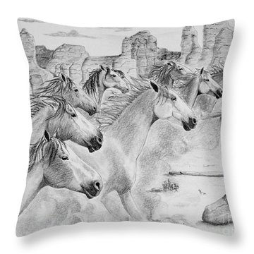 Stampede In Sedona Throw Pillow by Joette Snyder