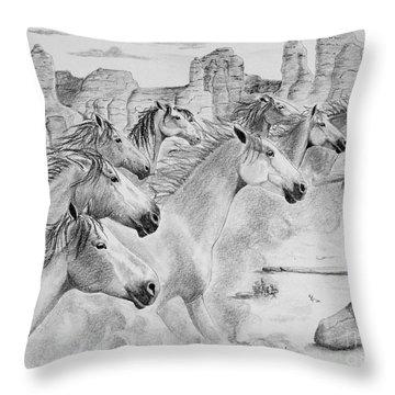 Stampede In Sedona Throw Pillow