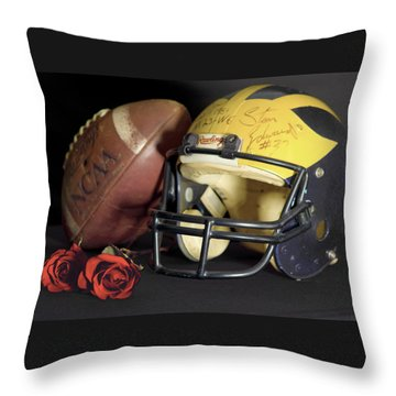 Stan Edwards's Autographed Helmet With Roses Throw Pillow
