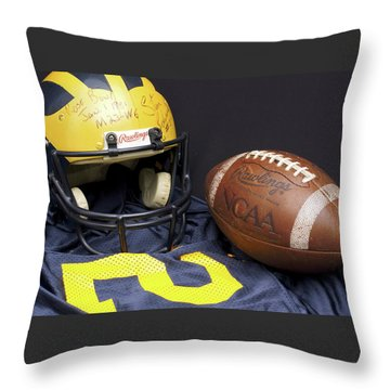 Stan Edwards's Autographed Wolverine Helmet Throw Pillow
