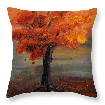 Stand Alone In Color - Autumn - Tree Throw Pillow