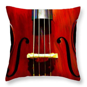 Stand Up Bass Throw Pillow by Bill Cannon