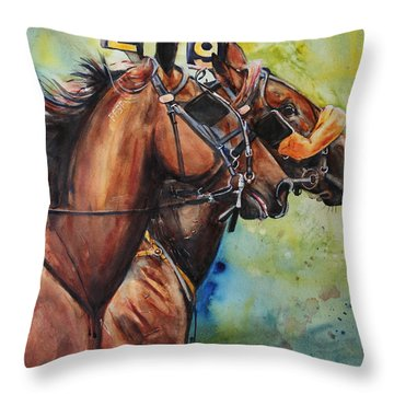 Standardbred Trotter Pacer Painting Throw Pillow by Maria's Watercolor