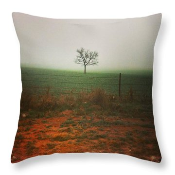 Standing Alone, A Lone Tree In The Fog. Throw Pillow