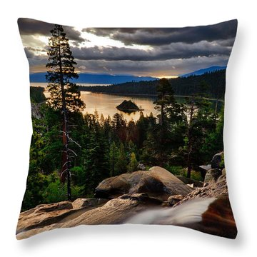 Standing At Eagle Falls Throw Pillow