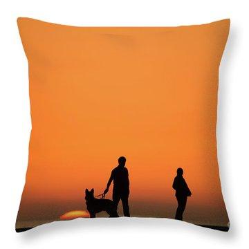 Standing At Sunset Throw Pillow