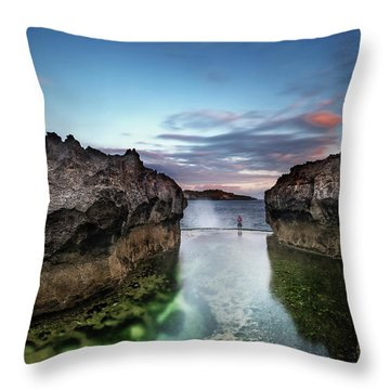 Throw Pillow featuring the photograph Standing At The Tip Of Sea by Pradeep Raja Prints