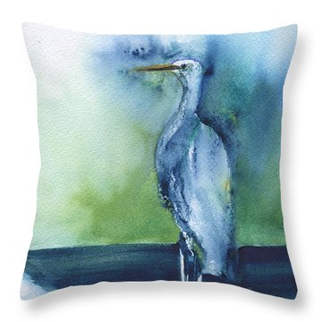 Standing Crane Throw Pillow by Frank Bright