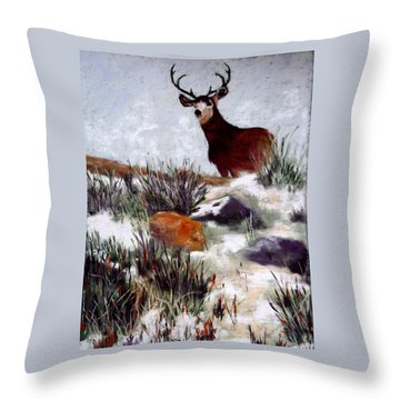 Throw Pillow featuring the painting Standing Guard by Nancy Jolley