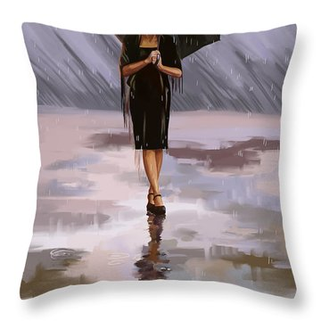 Standing-in-the-rain Throw Pillow