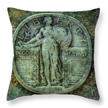 Throw Pillow featuring the digital art Standing Libery Quarter Obverse by Randy Steele