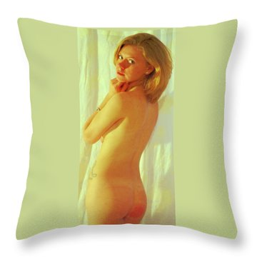 Standing Nude Gold Throw Pillow