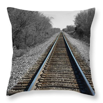 Standing On The Tracks Throw Pillow by Robyn Stacey