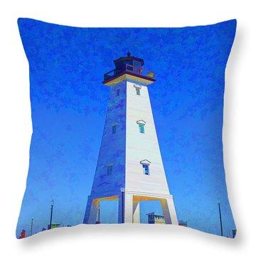 Standing Proud Lighthouse Throw Pillow