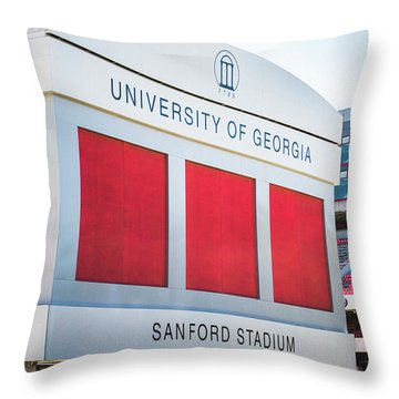 Throw Pillow featuring the photograph Standing Tall Over Sanford Stadium  by Parker Cunningham