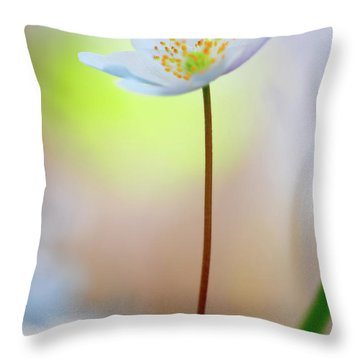 Standing Tall With Pride - Wood Anemone Wild Flower Throw Pillow