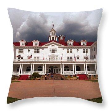 Stanley Hotel - Estes Park Colorado Throw Pillow by Donna Greene