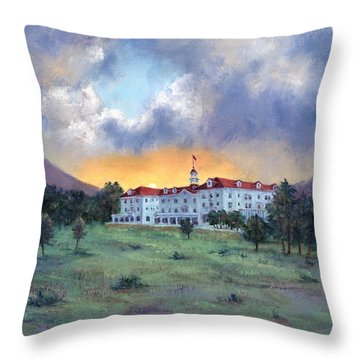 Stanley Hotel Sunset Throw Pillow by Jill Musser