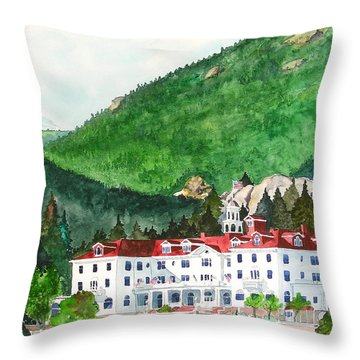 Throw Pillow featuring the painting Stanley Hotel by Tom Riggs