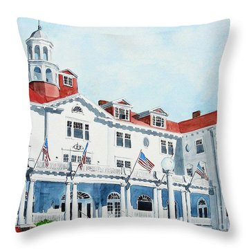 Stanley Hotel Two Throw Pillow by Tom Riggs