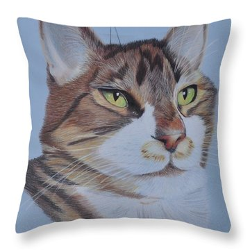 Throw Pillow featuring the drawing Stanley by Jo Baner