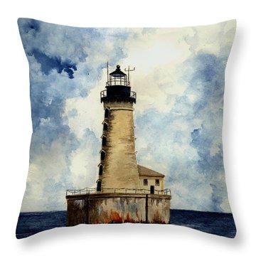Stannard Rock Lighthouse Throw Pillow by Michael Vigliotti