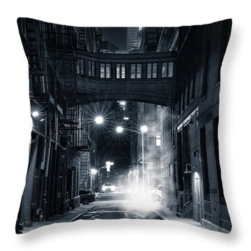Staple Street Skybridge By Night Throw Pillow by Mihai Andritoiu
