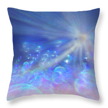 Throw Pillow featuring the photograph Star And Bubbles by Greg Collins