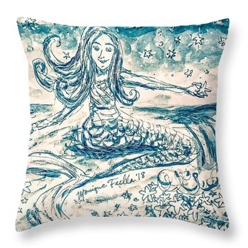 Throw Pillow featuring the painting Star Bearer Mermaid by Monique Faella