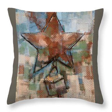 Throw Pillow featuring the mixed media Star Bell by Carrie Joy Byrnes