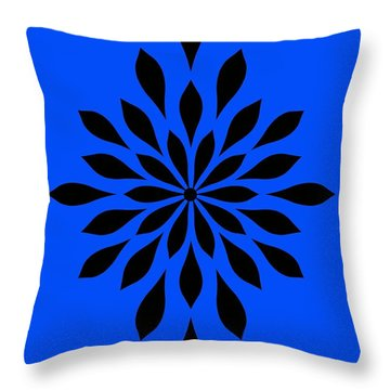 Throw Pillow featuring the digital art Star Flower Blue  by Mindy Bench