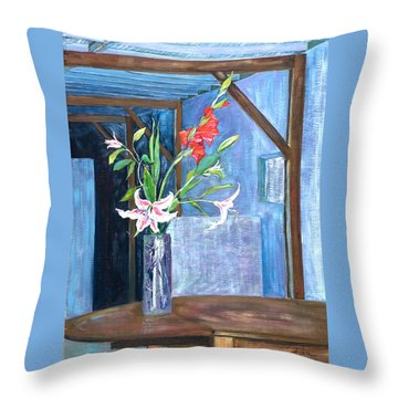 Star Gazer Lilies And Gladiolus In A Crystal Vase Throw Pillow