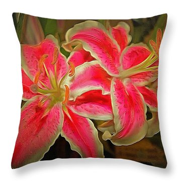 Star Gazer Lilies Throw Pillow