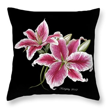 Star Gazer Lillies Throw Pillow