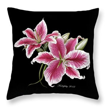 Star Gazer Lillies Throw Pillow