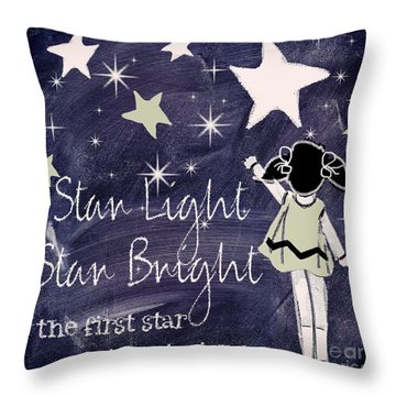 Star Light Star Bright Chalk Board Nursery Rhyme Throw Pillow by Mindy Sommers
