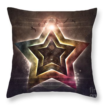 Throw Pillow featuring the digital art Star Lights by Phil Perkins