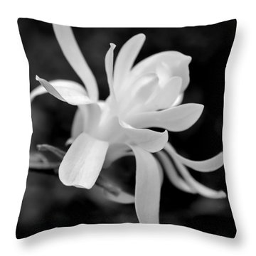 Star Magnolia Flower Black And White Throw Pillow