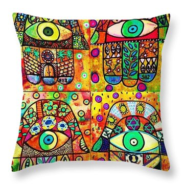 Star Of David Hamsa Throw Pillow by Sandra Silberzweig