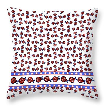 Throw Pillow featuring the digital art Star-spangled Lady Bugs by Methune Hively