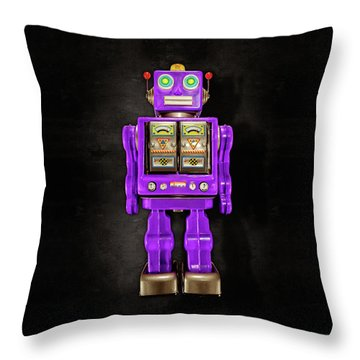 Star Strider Robot Purple On Black Throw Pillow by YoPedro