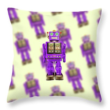 Star Strider Robot Purple Pattern Throw Pillow by YoPedro