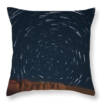 Star Trail From Gallo Wash Throw Pillow