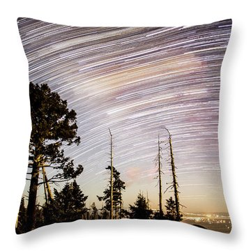 Star Trails At Fort Grant Throw Pillow