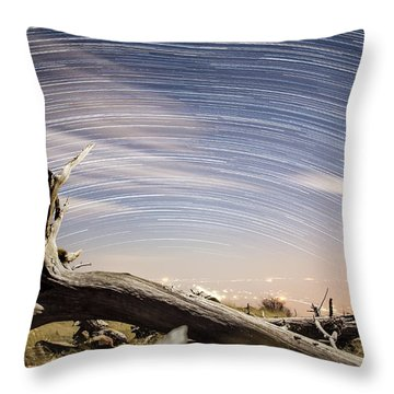 Star Trails By Fort Grant Throw Pillow