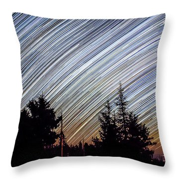 Star Trails From Mt. Graham Throw Pillow