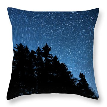 Star Trails In Acadia Throw Pillow